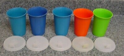 Tupperware 5 Sip Sippy Seals Domed Sipper Lids lot 5- 7 Oz Bell Tumblers