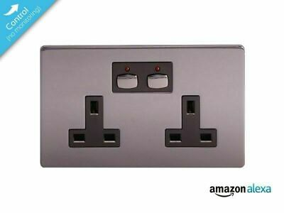💙 ENERGENIE® MiHome Smart Double Wall Socket - Black Nickel - MIHO021