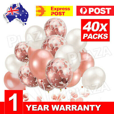 40pcs Rose Gold Confetti Balloons For Birthday Marriage Party Decoration GIFT AU