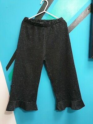 ⭐ Zara Girls Glittery Wide Leg Frilled Cropped Culottes Trousers 8 Yrs ⭐