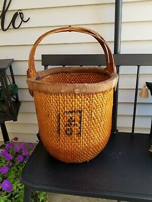 Republic Period Chinese Woven Willow Rice Gathering Basket, Elm Wood Handles
