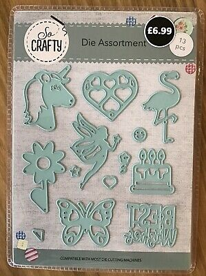 So Crafty Die Assortment with Unicorn, Heart, Fairy, cake, Butterfly, Flamingo