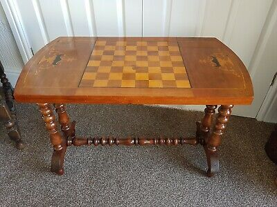 Antique Walnut Games Table With Inlaid Chess/Chequers/Draughts Board