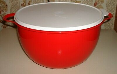 Tupperware Thatsa Bowl red With White Lid 32 Cups Mint In Plastic