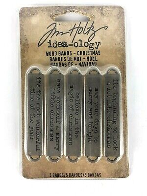 Tim Holtz idea-ology 5 Word Bands Christmas Metal Inspirational Quotes
