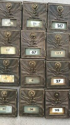 Lot Of 20 Medium Vintage Bronze Brass Eagle US Post Office Box Doors Combination