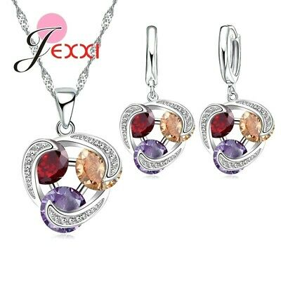925 Sterling Silver Clear Purple RedCrystalCirclePendant Chain NecklaceUK