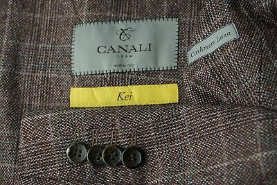 Canali Kei 1934 Red Gray Plaid Cashmere Blend DBL Breasted Sport Coat Sz 42S