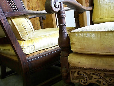Antique Couch Chair Jamestown Lounge Feudal Oak Rare Vintage Glam She Shed Set