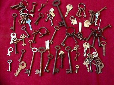 Job Lot Antique Vintage Original Skeleton Hand Forged Key,Church,School Salvage
