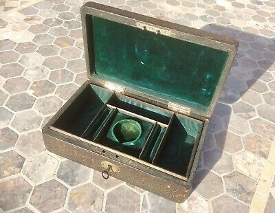 Antique Victorian Leather Jewellery Box,Travel Trinket Case,Lock,Key,Handle,Old