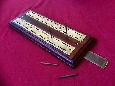 Antique Victorian Brass & Mahogany Wood Cribbage Board,Crib Peg Secret Drawer