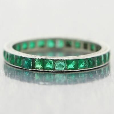 1920's Antique Art Deco Platinum 1.50ctw Synthetic Emerald Band Ring