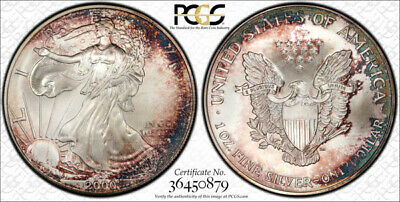 2000 American Silver Eagle ASE PCGS MS67 - Exceptional Purple Rainbow Toning