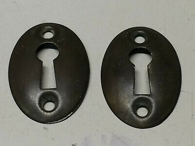 Pair Of Old Vintage Solid Brass Oval Escutcheons Key Hole Keyhole Covers