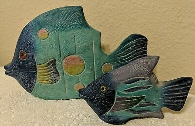 Tropical Fish Wooden HandCarved Painted Wood Art Sculpture Figure Home Decor
