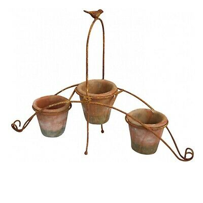 Pot Pots Rustic Three Tier with Bird Vintage Cottage Farmhouse Country French