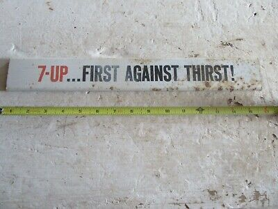 "Vintage 7UP  First Against Thirst Display Rack Sign Door Push 2"" x 15"" Lot 18-81"