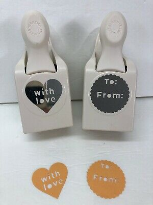 Martha Stewart Large Paper Punch Words Lot of 2 WITH LOVE TO FROM Gift Tag RARE