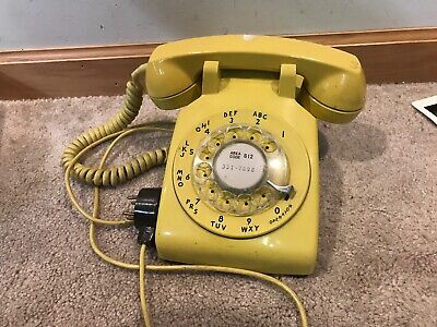 Bell System Yellow Rotary Dial Vintage Phone C/D 500 1972
