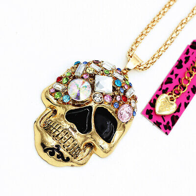 Betsey Johnson Enamel Crystal Big Skull Head Pendant Sweater Chain Necklace