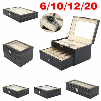 12/20/24 Slot Leather Watch Box Display Case Organizer Glass Jewelry Storage Lot