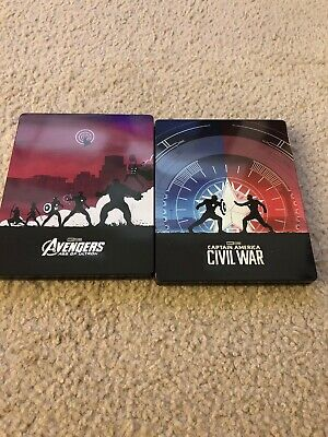 Marvel Steel Book Lot Blu-Ray Avengers Age Of Ultron Captain America Civil War