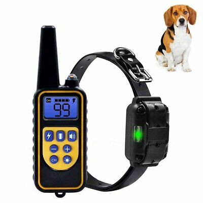Dog Shock Traning Collar Rechargeable Electric Remote Waterproof IP67 875 Yards