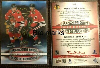 2019-20 Ud Tim Hortons Franchise Duos Kane - Toews  Chicago D8 **L@@K** 19/20