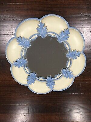 Ceramic Round Scalloped Hand Painted Decorative Mirror Heavy Blue White Gold