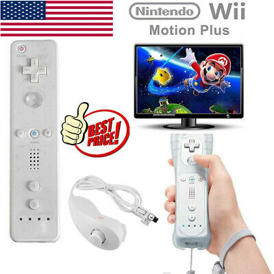 2 in1 Motion Plus Remote Control + Nunchuck Controller for Nintend Wii Game VT