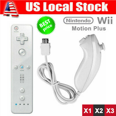 Remote Wiimote + Nunchuck Controller Set Combo for Nintendo Classic Wii U Games@