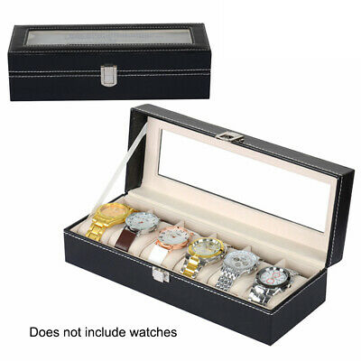6 Grids Slots Leather Watch Display Box Jewelry Storage Organizer Holder Case