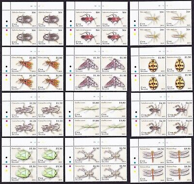 Cook Is. Insects Beetle Dragonfly Definitives Part 1 12 Top Corner Blocks of 4
