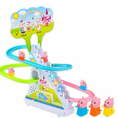 Pig Crawling Stairs Light Music Track Pink Pig Electric Track Educational Toys +