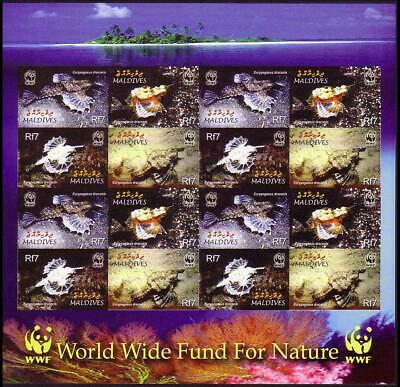 Maldives WWF Dragonfish Imperforated Sheetlet of 4 sets MNH