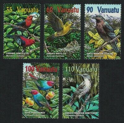 Vanuatu Birds Honeyeater Starling White-eye Parrot 5v MNH SG#848-852