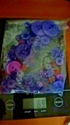 bag of purple buttons