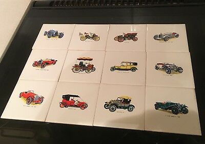 Vintage Pilkington tiles x 12 - Vintage Cars
