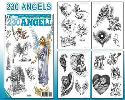 230 Anges Tatouage Flash Motif Livre 66-Pages Cursif Écriture Art Fournitures
