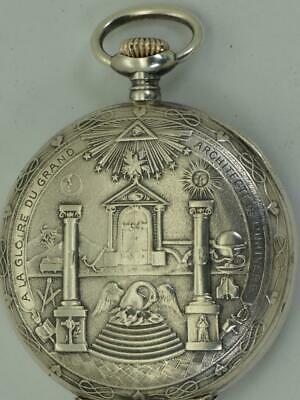 WOW! Unique antique Invar Sterling silver Masonic chased case pocket watch.RARE!