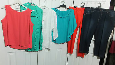 Size 20 Bulk Lot 6 Items Tops Stretch Capri Jeans By Target Lilly And Lou #A9