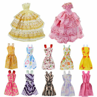 Fashion Casual Party Dress Wedding Gown For Barbie Dolls 12pcs/set Girls Gift#
