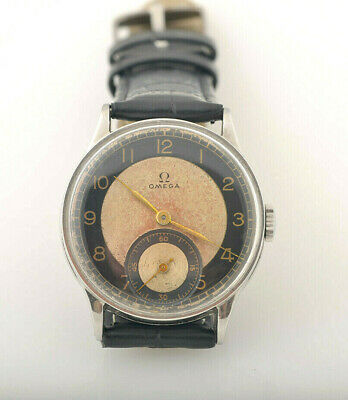 Vintage Very Rare Omega bullseye two tone dial Swiss watch with three months war