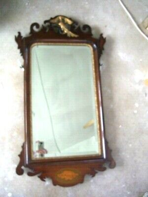 """Antique Georgian Fretwork Chippendale Mirror Mahogany Bevelled Glass 36"""" by 20"""""""