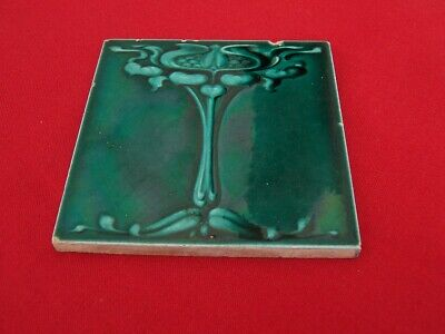 Antique Art Nouveau Ceramic Tile Marked England Unknown Makers Mark ?