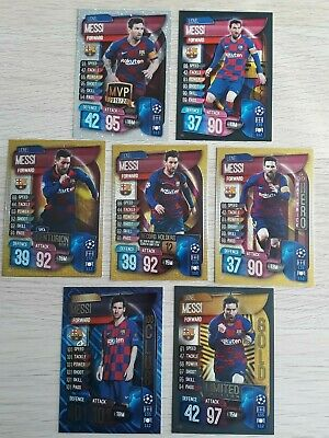 Match Attax 19/20 2019/20 set of Lionel Messi cards inc Gold 100 Club Centurion