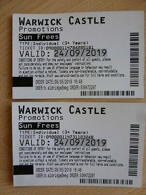 2 x Warwick Castle Tickets Tuesday 24th September 2019