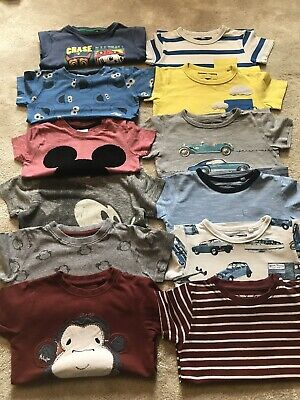12 X Baby Boys NEXT T-shirts Bundle 12-18 Months Inc Paw Patrol Mickey Mouse