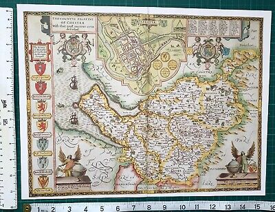 "Old Antique Tudor map of Cheshire, England: John Speed 1600's 15"" x 11 (Reprint)"